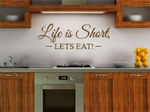 "Kitchen Wall Quote ""Let's Eat"" Wall Art Sticker, Vinyl Decal, Modern Transfer."